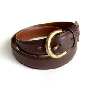 Coach Leather Belt Mahogany Brown and Brass Med